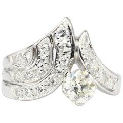 Art Deco White Gold 1.05 Carat Total Diamond Ring