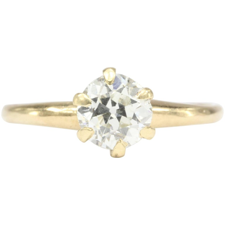 Victorian Yellow Gold 92 Carat Diamond Solitaire Engagement Ring