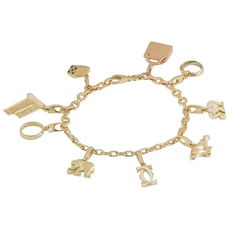 Cartier Yellow Gold Charm Bracelet with Nine Charms
