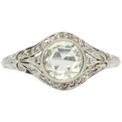 Edwardian Platinum .60 Carat Rose Cut Diamond Engagement Ring