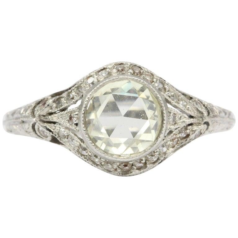 Edwardian Platinum .60 Carat Rose Cut Diamond Engagement Ring