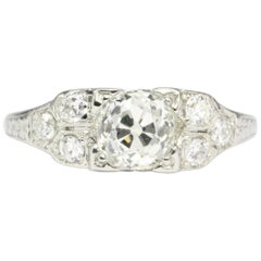Art Deco Platinum .98 Carat Old Mine Cut Diamond Engagement Ring