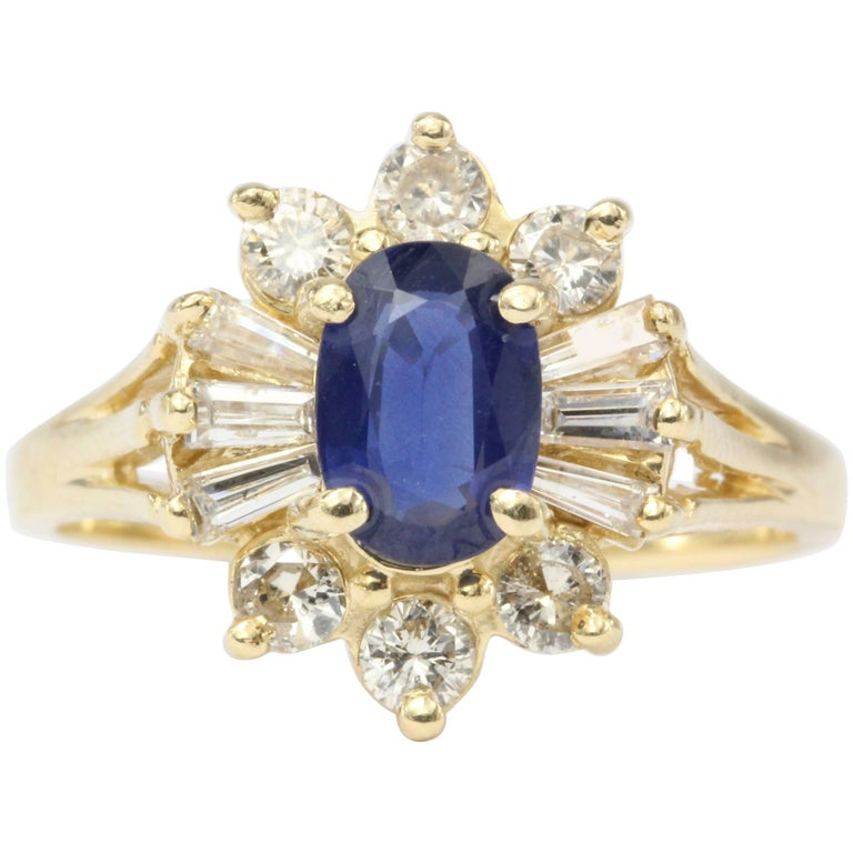 14 Karat Yellow Gold .80 Carat Natural Sapphire and Diamond Halo Ring For Sale