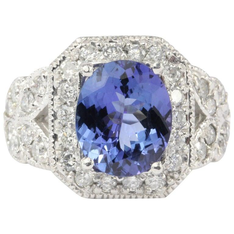 Carat Tanzanite: White Gold 5 Carat Tanzanite And 2.5 Carat Diamond Ring At