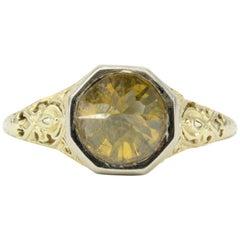 Platinum & Yellow Gold Art Deco 2ct Fancy Yellow Orange Upside-Down Diamond Ring