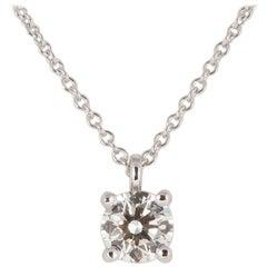 Tiffany & Co. Platinum Diamond Solitaire Pendant Necklace 0.52 Carat
