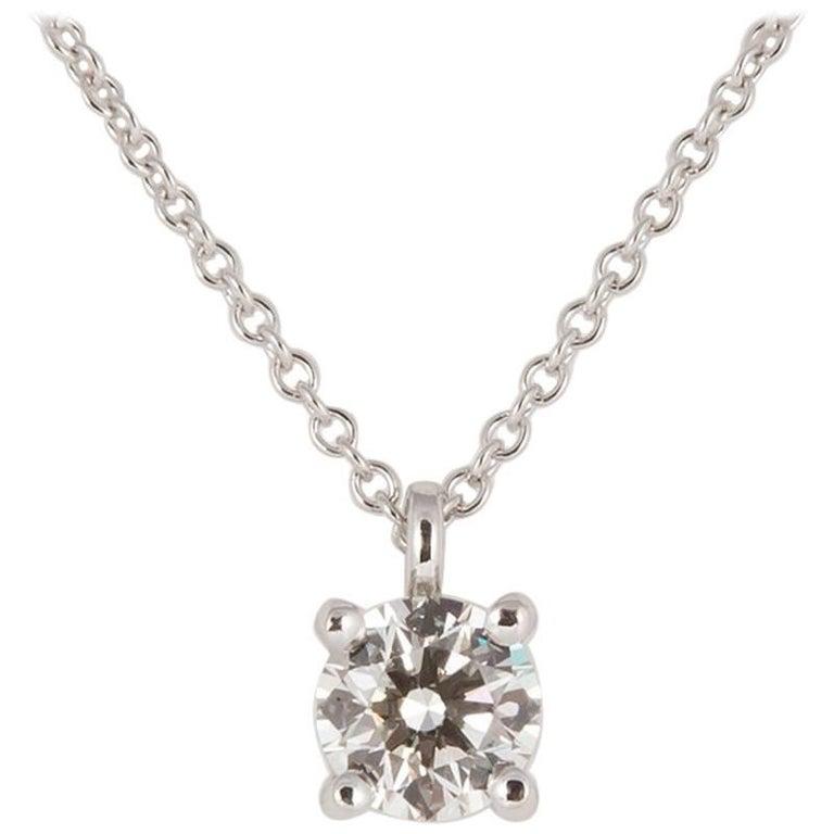 16872ee56ef9d Tiffany   Co. Platinum Diamond Solitaire Pendant Necklace 0.52 Carat For  Sale