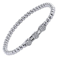 0.27 Carat Diamond Bar Slide Disc White Gold Beaded Bracelet