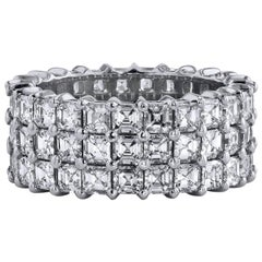 Triple Row 6.43 Carat Asscher Cut Diamond Ring