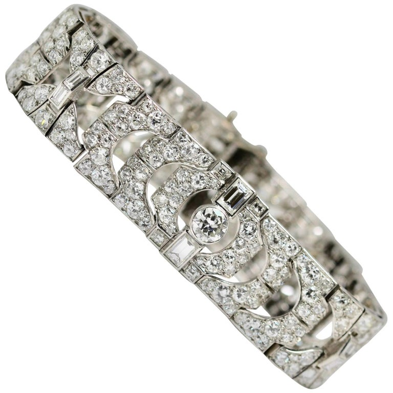 1930s Platinum Art Deco Diamond Bracelet