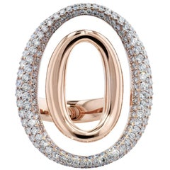 2.66 Carat Pave Diamond and 18 Karat Rose Gold Double Oval Fashion Ring