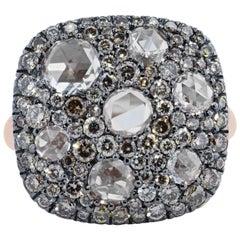 1.05 Carat Brilliant Cut Champagne Diamonds & 1.13 Carats Rose Cut Diamond Ring