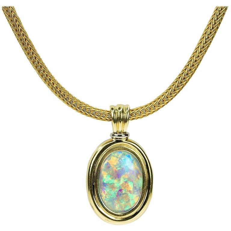 Magnificent Australian Opal Necklace For Sale