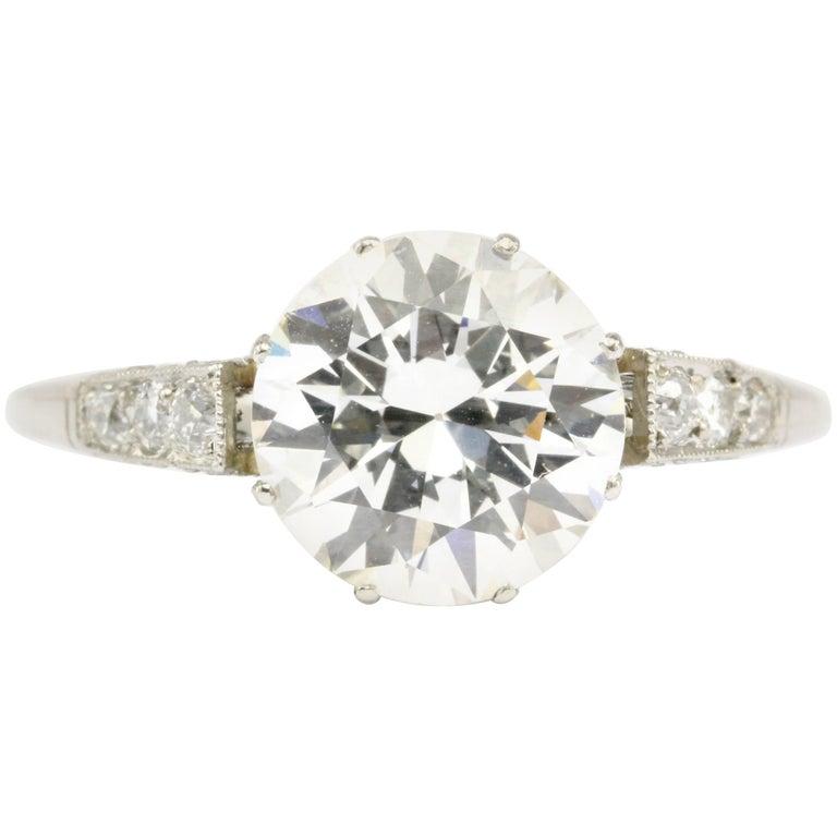 Art Deco Style Platinum GIA 2.59 Carat Old European Cut Diamond Ring