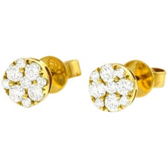 Diamond Set Gold Cluster Earrings