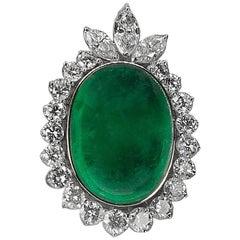 Huge Platinum Emerald and Diamond Pendant