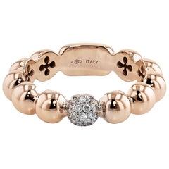 0.11 Carat Diamond Round Cluster Rose Gold Beaded Ring