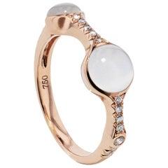 1.74 Carat Cabochon Moonstone and Diamond Band Ring