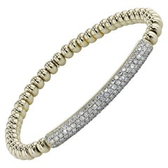 1.28 Carat Pave Diamond Bar Yellow Gold Beaded Bracelet
