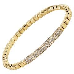 1.06 Carat Pave Diamond Bar Yellow Gold Square Bead Bracelet