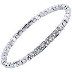 1.06 Carat Pave Diamond Bar White Gold Square Bead Bracelet