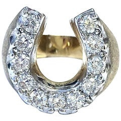 Vintage Diamond Horse Shoe Gold Ring