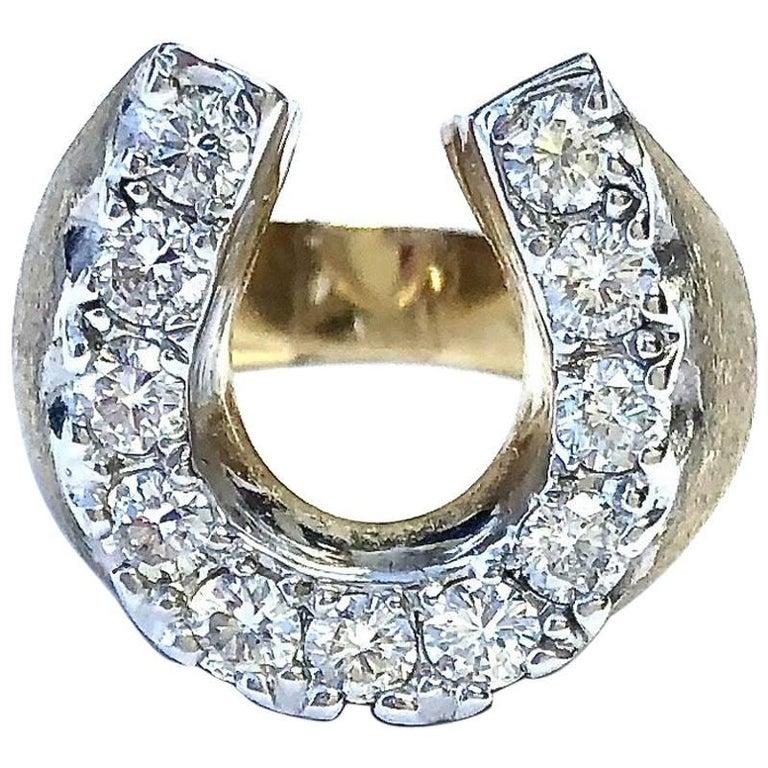 Vintage Diamond Horse Shoe Gold Ring