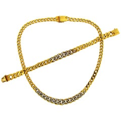 Cartier Diamond Yellow Gold Chain Bracelet and Necklace Set, 1970s