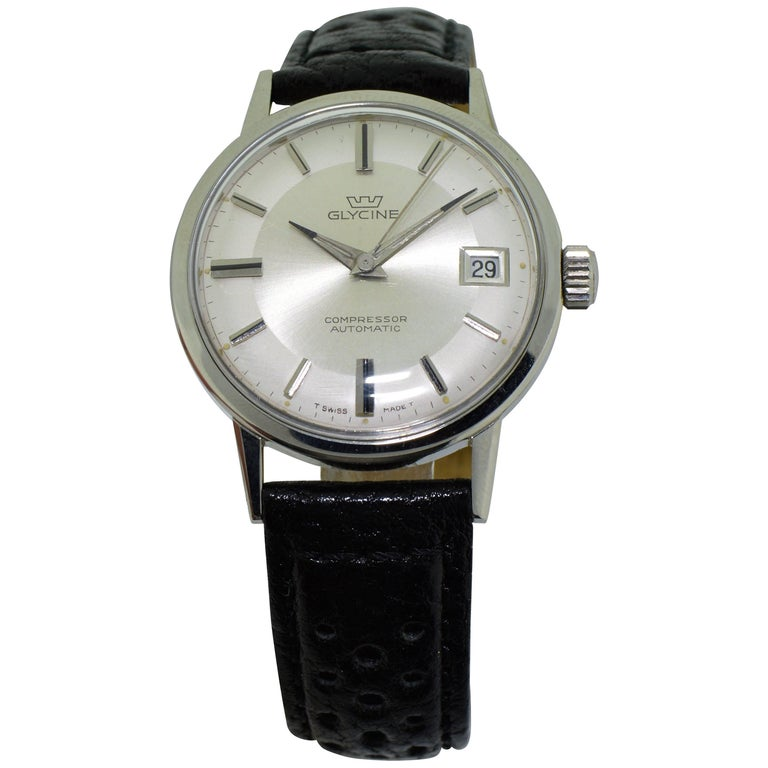 Glycine Stainless Steel Date Automatic Watch Circa 1950s