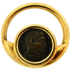 1970s Bulgari Ancient Roman Bronze Coin Yellow Gold Money Clip Key Holder