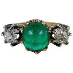 Victorian 3.20 Carat Colombian Emerald 1.45 Carat Diamond Rare Trilogy Ring