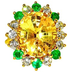 GIA Certified Natural Fine Yellow Sapphire, Diamond and Emerald Ring