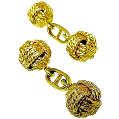 18 Karat Gold Love Knot Cufflinks