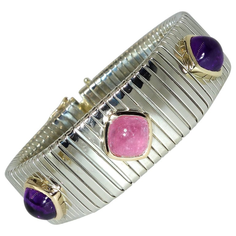 Pink Tourmaline, Amethyst, Sterling Silver and Gold Bracelet