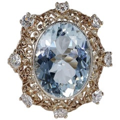 Edwardian 9.30 Carat Aquamarine 1.50 Carat Diamond Rare Ring