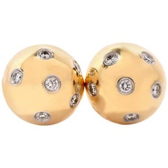 Tiffany & Co. Etoile Diamond 18 Karat Gold and Platinum Ball Stud Earrings