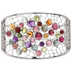 Italian Multi-Gem Cluser White Gold Wide Bangle Bracelet