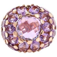21st Century Amethyst 18 Karat Gold Dome Cluster Ring