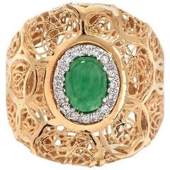 Estate Diamond and Jade 18 Karat Yellow Gold Cocktail Filigree Ring