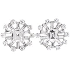 Estate Large GIA Certified Square Diamond Cluster Stud Earring