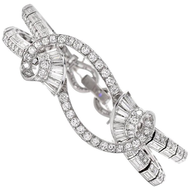 Vintage 11.38 Carat Round and Baguette Diamond Platinum Bracelet