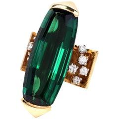 1980s Designer 18 Karat Diamond Tourmaline Gold Cocktail Ring