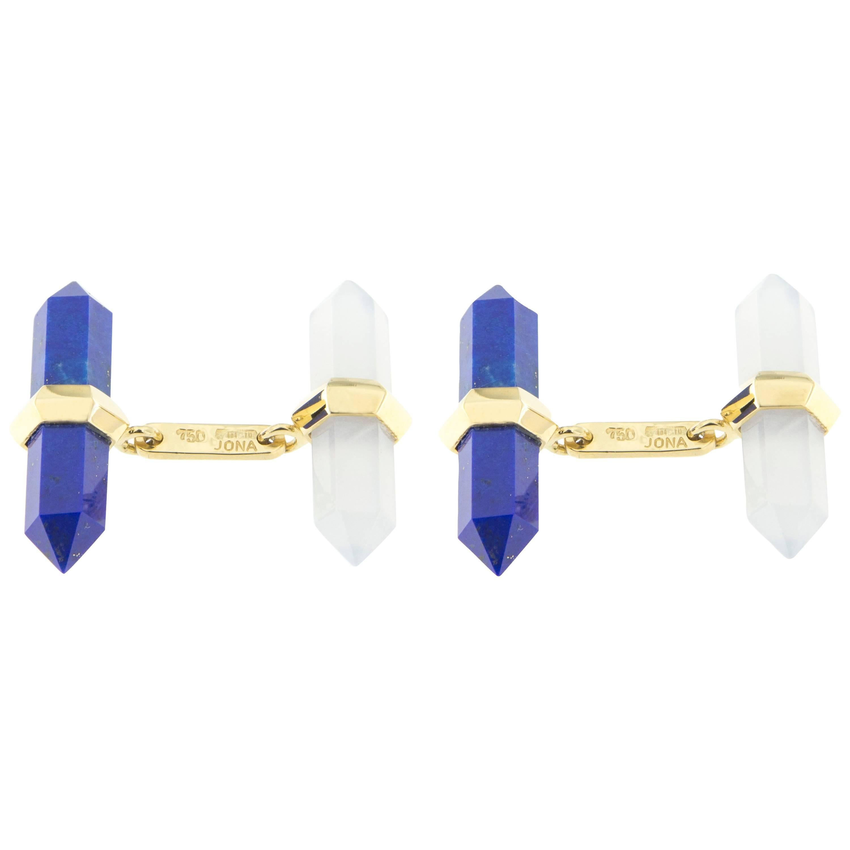 Jona Lapis Lazuli Chalcedony 18 Karat Yellow Gold Prism Bar Cufflinks