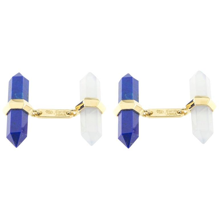 Jona Lapis Lazuli Chalcedony 18 Karat Yellow Gold Prism Bar Cufflinks For Sale