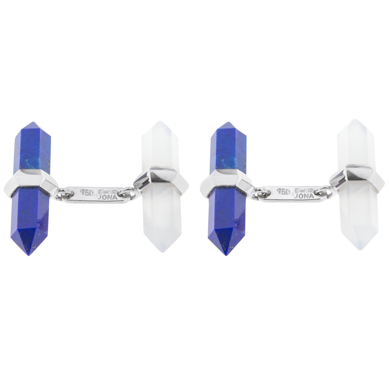 Jona Lapis Lazuli Chalcedony 18k White Gold Prism Bar Cufflinks