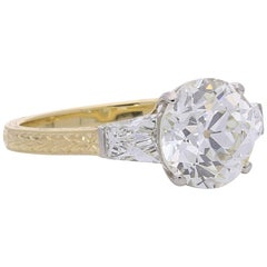 2.60 Carat Old European Brilliant-Cut Diamond Ring with French-Cut Shoulders
