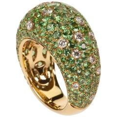 Brilliant 18 Karat Yellow Gold Pavé Tsavorite and Diamond