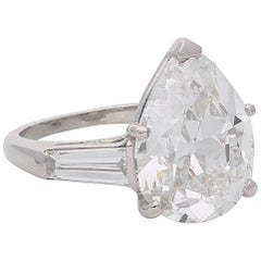 6.53 Carat Old-Cut Pear Shape Diamond Ring with Tapered Baguette Shoulders