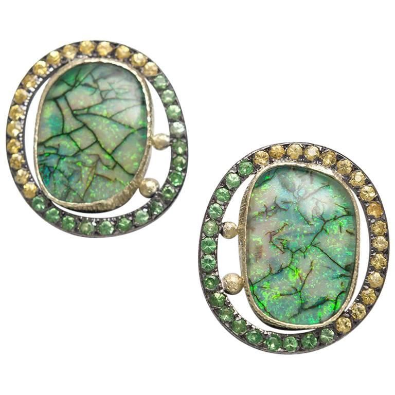 Opal Doublets Tsavorites Sapphires Green Gold Silver Clipped Earrings