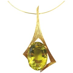 Andrew Grima Lemon Quartz Pendant Necklace, 1970s